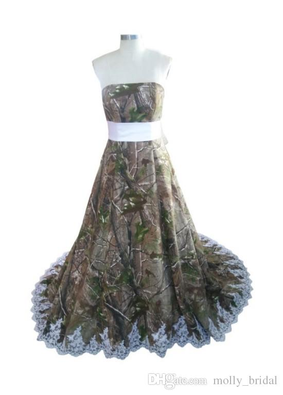 2016 designer camo wedding dresses applique bow ribbon for Open back bow wedding dress
