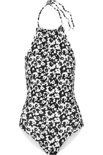 scalloped black swimwear