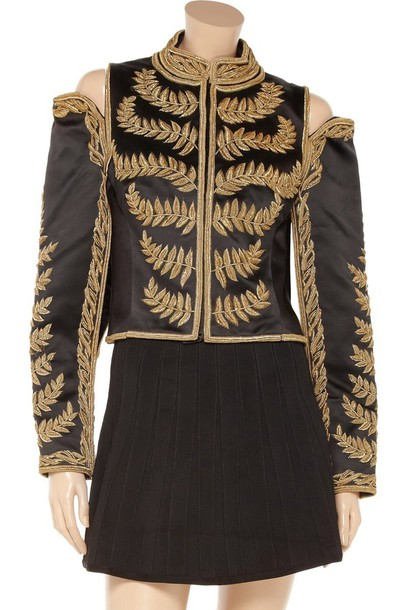jacket gold leaf military style alexander mcqueen reign open shoulder embroidered