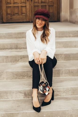 eatpraywearlove blogger top jeans shoes bag hat fisherman cap pumps white sweater pink pants