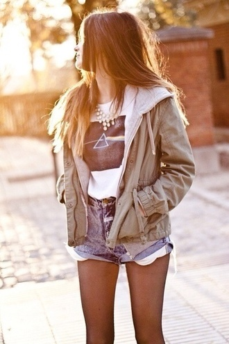 jacket khaki army green jacket shorts coat t-shirt pink floyd light short shirt
