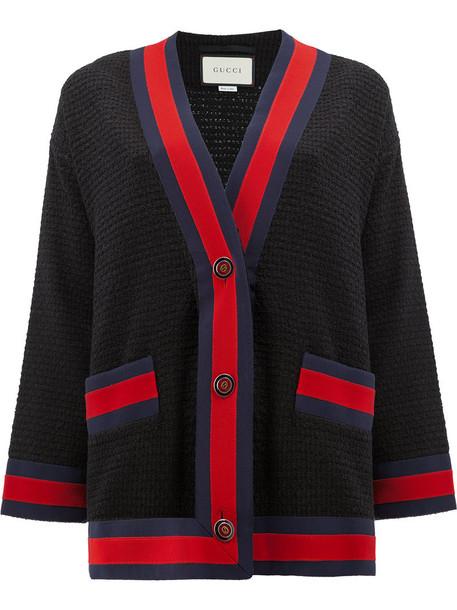 gucci cardigan cardigan women cotton black sweater