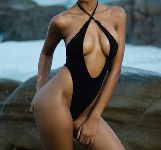 swimwear one piece swimsuit black cut-out criss cross peep
