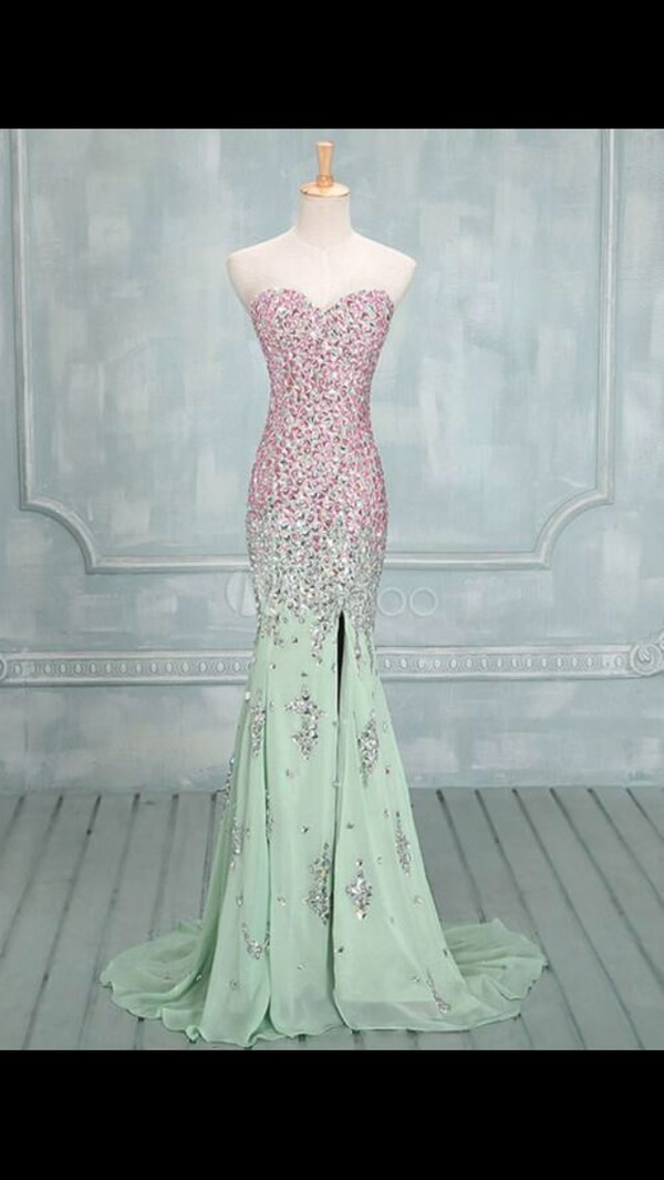 dress pink green dress ombre prom dress mermaid prom dress jewels long prom dress mermaid teal slit dress sparkle