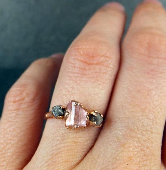 Raw Diamond Ring Rose Gold