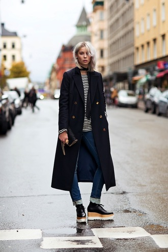 le fashion image blogger scarf top bag wedges coat stripes black long coat shoes long coat boyfriend jeans platform oxfords stella mccartney shoes stella mccartney bag chain strap bag stella mccartney military coat striped top french girl style platform shoes statement shoes jeans cuffed jeans blue jeans black coat winter coat black choker choker necklace black shoes