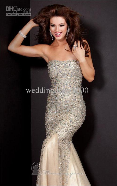 Buy 2013 new mermaid strapless tulle beaded sequins nude sleeveless customed dresses prom with train, $272.73