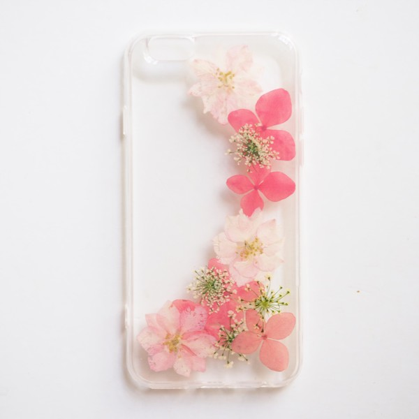 The Romantic Pink Hydrangea And Delphinium Hybrid Pressed Flower Phone Case