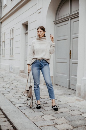 shoes black shoes mules blue jeans sweater grey sweater bag jeans denim
