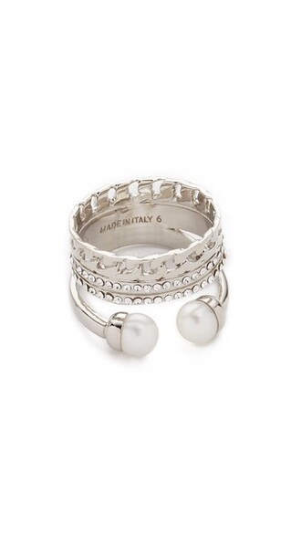 clear pearl triple ring silver jewels