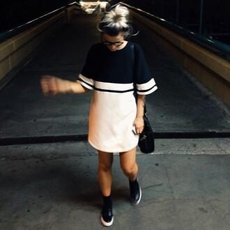 dress mini dress block dress monochrome black white t-shirt dress