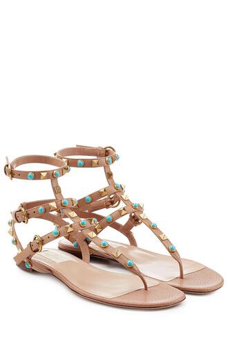 embellished sandals leather sandals leather beige shoes