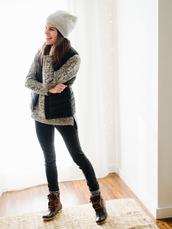 un-fancy,blogger,hat,jacket,sweater,jeans,socks,shoes,beanie,vest,duck boots