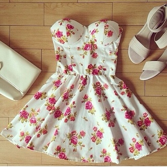 dress dress flower floral pastel shoes roses floral dress white rose fliegers blanc floral white dress flowers pink flowers