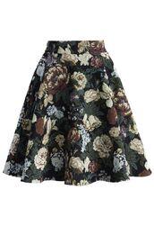 black and floral skirt,floral print skirt,rose print skirt,jacquard skirt,skater skirt,www.ustrendy.com