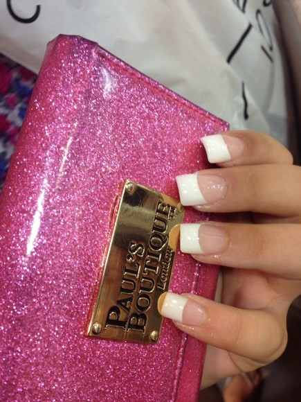 nail polish nails pink acrylic glitter purses