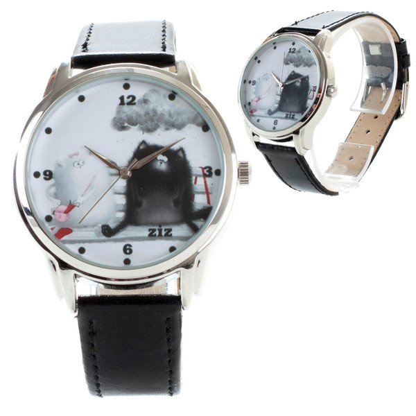 jewels leather watch cats cats watch designer watch unique watch funny watch unusual watch ziz watch ziziztime