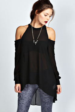 Isabelle High Neck Cut Out Shoulder Blouse at boohoo.com