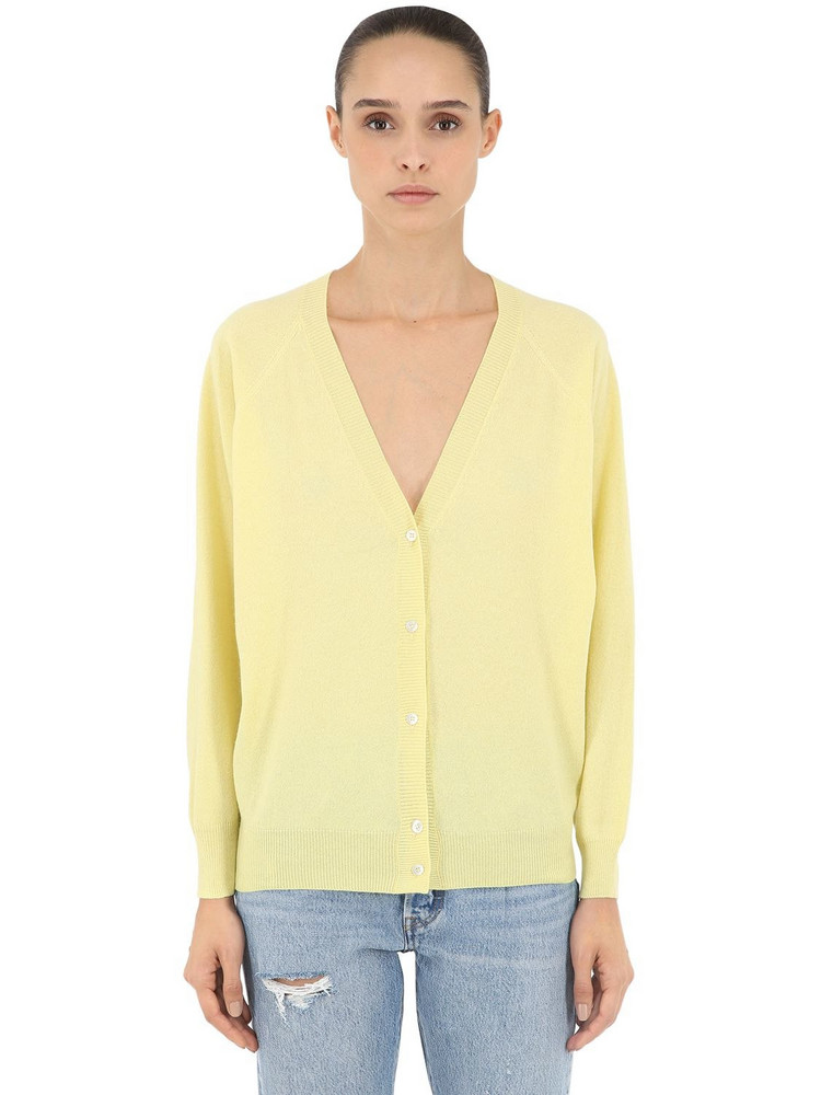 LUISA VIA ROMA Cashmere Knit Cardigan in yellow