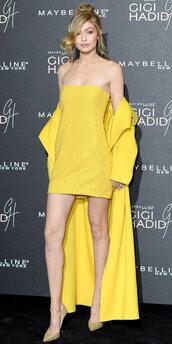 dress,yellow,yellow dress,pumps,mini dress,gigi hadid,model,coat,strapless,shoes