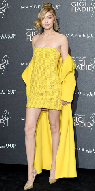 dress yellow yellow dress pumps mini dress gigi hadid model coat strapless shoes