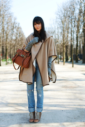 gloves,alix,the cherry blossom girl,grey gloves,coat,bag,shoes