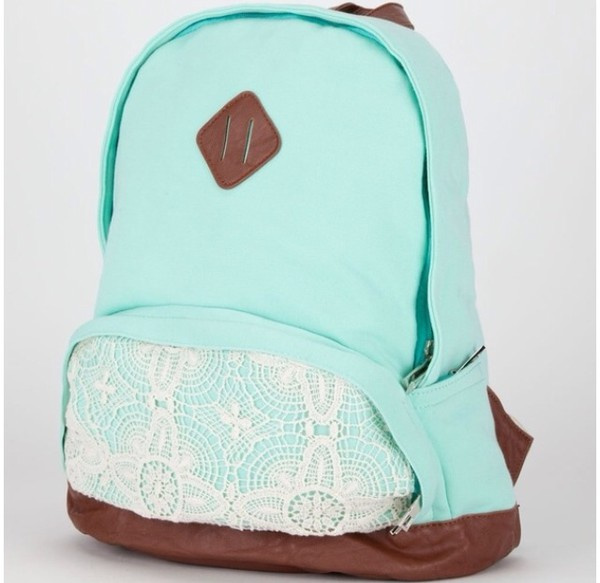bag pastel backpack mint lace romper knit jersey white lace mint leather