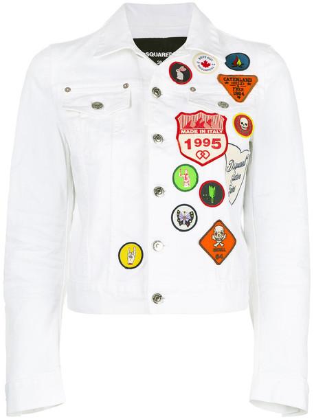 Dsquared2 jacket denim jacket denim women spandex white cotton