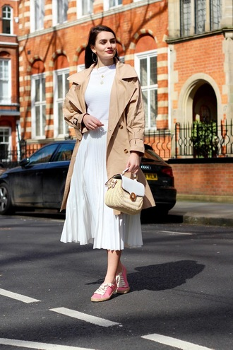 skirt pleated skirt pleated white skirt bag coat trench coat white top top shoes espadrilles pink espadrilles long skirt spring skirt