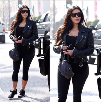 jacket leather jacket kim kardashian
