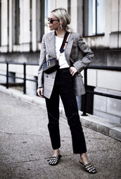 jacket,tumblr,blazer,grey blazer,t-shirt,white t-shirt,pants,velvet,shoes,mules,bag,crossbody bag,jeans