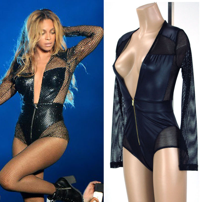 Lethalbeauty ? yonce plunging faux leather netted bodysuit