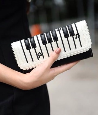bag white clutch black music piano white and black