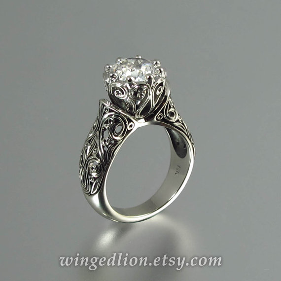 The ENCHANTED PRINCESS White Sapphire 14K gold by WingedLion