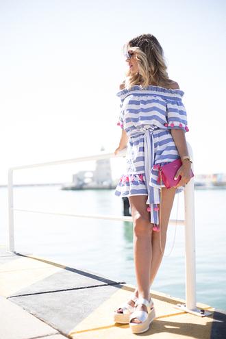 mi aventura con la moda blogger dress shoes bag sunglasses t-shirt jewels striped dress summer dress wedges sandals