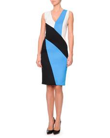 Neck colorblock punto roma dress, black/blue