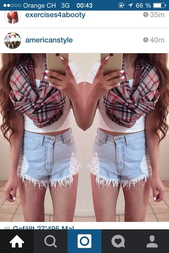 scarf white t-shirt denim shorts uggs that i must have girl shirts