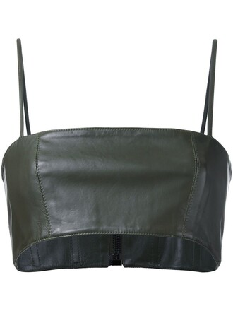 top women leather green