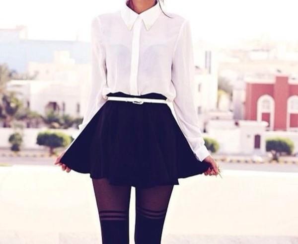 skirt black skater skirt underwear blouse