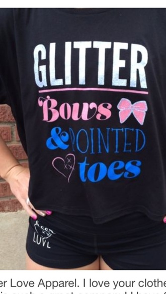 shirt pointed toe cheer bows cheerleading black t-shirt