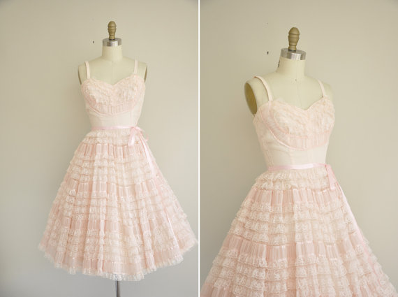 Vintage 1950s cotton candy dress / 1950s by simplicityisbliss