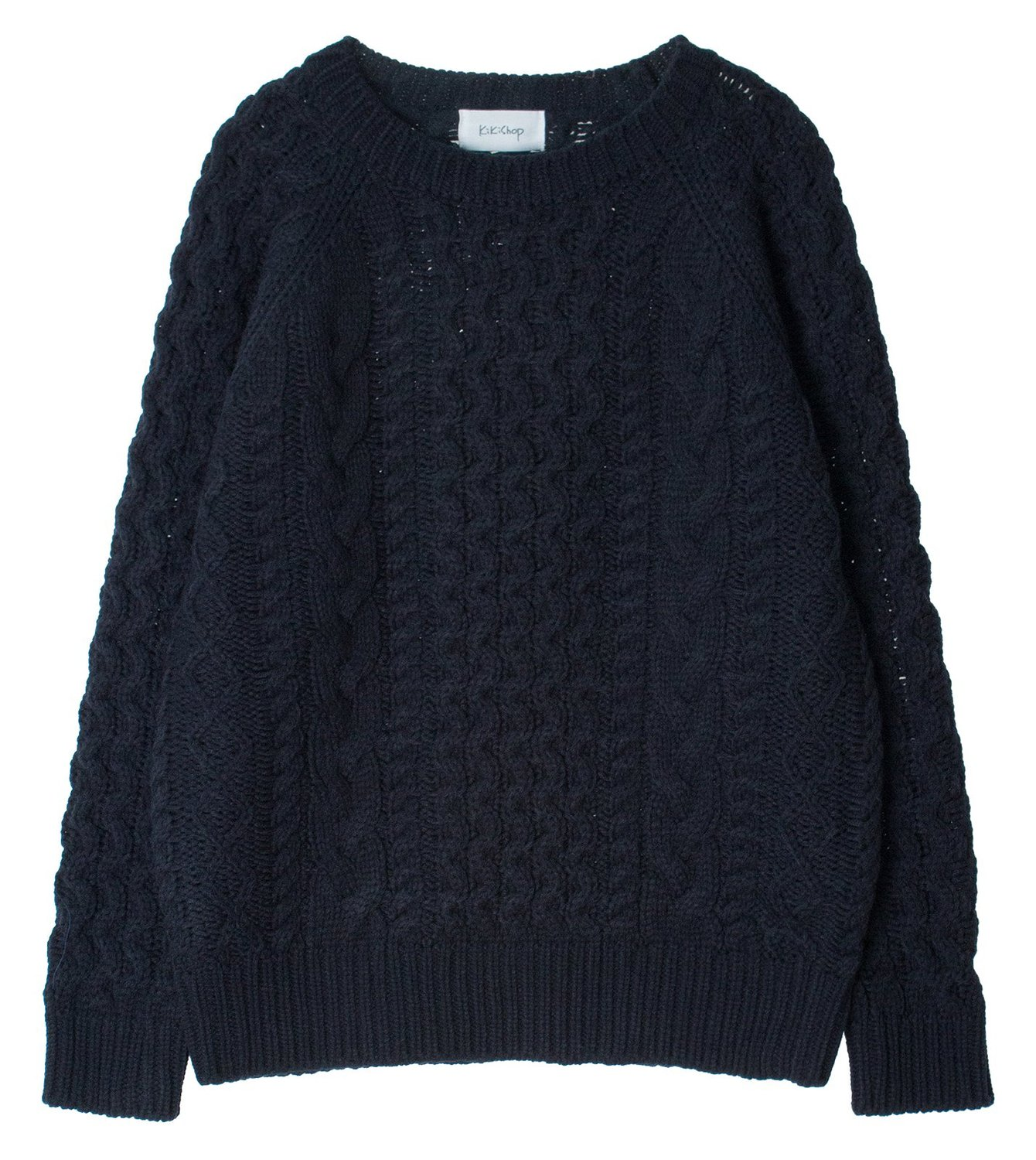 Chunky Cable Solid / Marled Knit Sweater Pullover S - M, Navy at ...