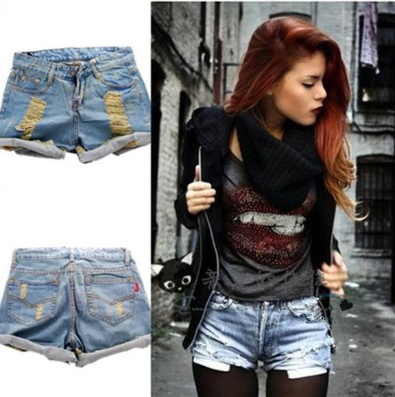 Hot Retro Womens Girls Light Blue High Waist Flange Hole Wash Jeans Denim Shorts | eBay