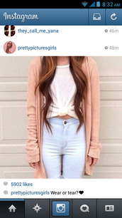 jeans,high waisted jeans,high waisted,light blue,high waisted denim jeans,blue,iwantthem,cute,jacket,shirt,cardigan,tumblr,pink,knitted cardigan,long sleeves,peach,blue jeans,white top,top,coat,blouse,t-shirt,white t-shirt,white,blanc,chandail