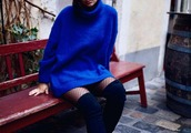 dress,knitwear,cobalt blue