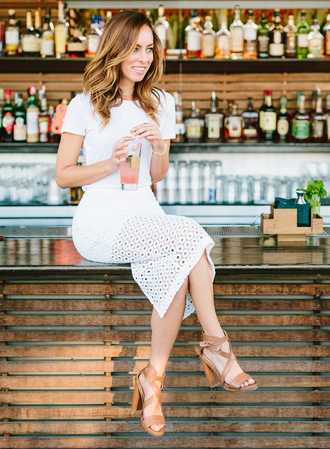 sydne summer's fashion reviews & style tips blogger skirt jewels sunglasses bag shoes white top white skirt high waisted skirt thick heel brown eyelet skirt midi skirt pencil skirt lace skirt sandals sandal heels high heel sandals brown sandals summer outfits