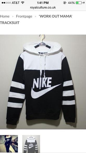 sweater black white nike hoodie cute sporty workout