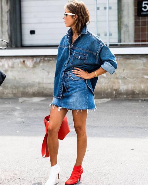 skirt mini skirt denim skirt boots bag denim shirt sunglasses bracelets