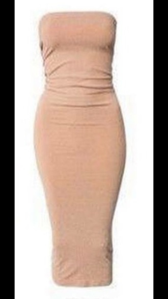 dress peach bodycon dress tube dress strapless