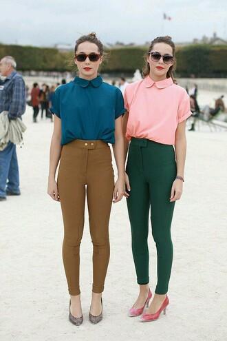 blouse brownleggings turquoiseblouse beauty pinkblouse forest green slim pants petrol camel